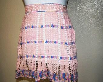 Vintage 1950's Pale Pink and Pastel Crochet Apron