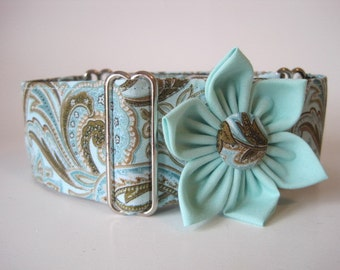 Martingale Collar and Matching Flower, 2 Inch Martingale Collar, Paisley, Aqua Dog Collar, Greyhound Collar, Paisley Dog Collar