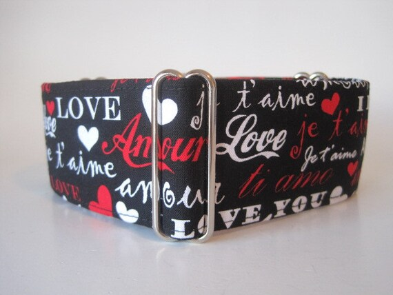 Valentine Martingale Collar, 2 Inch Martingale Collar, Valentine Dog Collar, Love, Amour, Black, Red, White, Greyhound Collar, Hearts