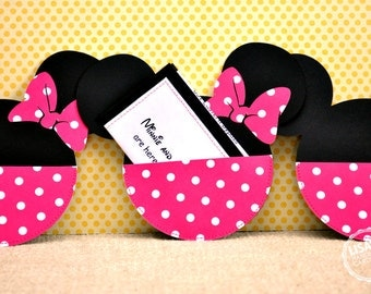 Custom Hot Pink and White Polka Dot Minnie Mouse Birthday Invitations Handmade by Lisa