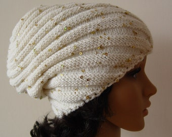 Knitted white Snail hat, Beanie sparkly warm hat, sequins