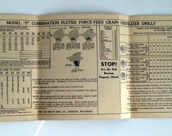 Fertilizing Chart for Planting Grains- 1950's