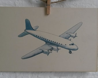 Dick and Jane Large Flash Cards - Double sided Airplane flashcard - teaching materials - Vintage flashcards