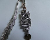 Silver Metal Feather Bookmark with an Owl Charm