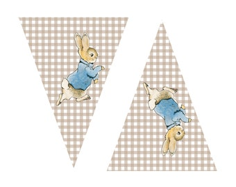 "Peter Rabbit, Baby Shower, Banner, ""Welcome Baby"", Decoration, Garland, Party, Printable, DIY, INSTANT DOWNLOAD, Gender Neutral"