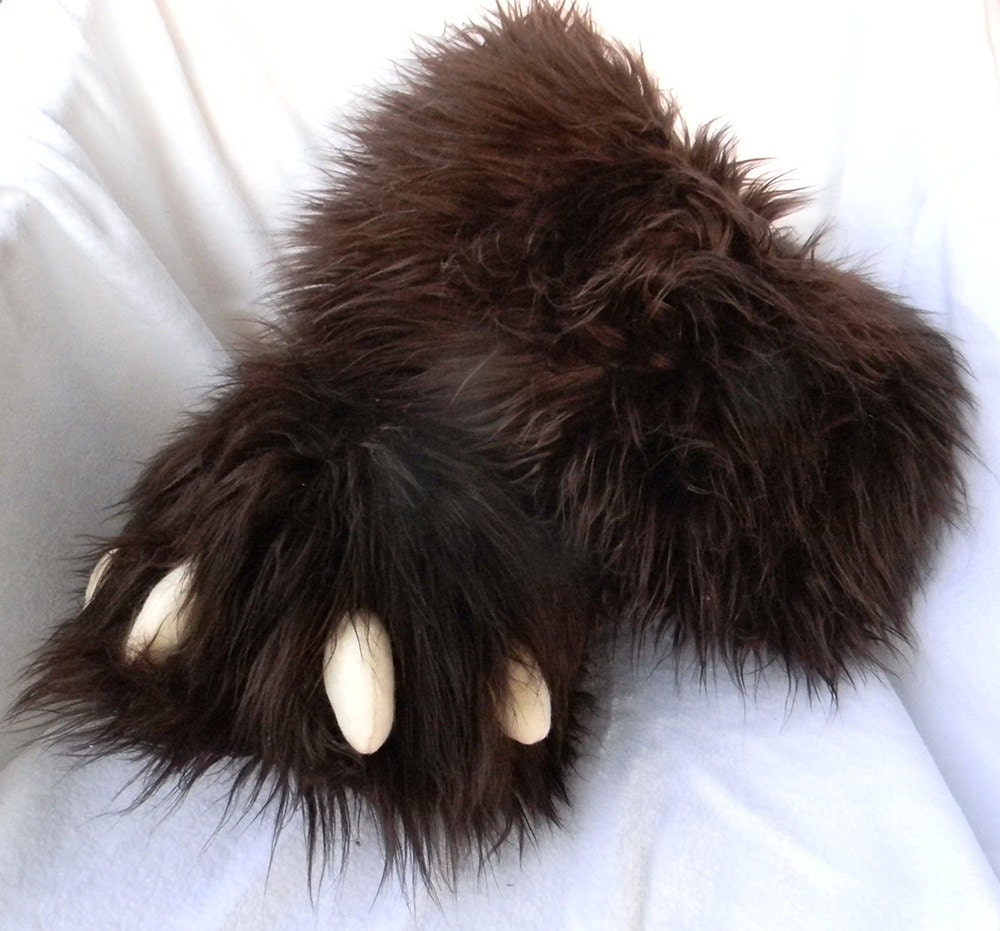 Big Furry Fuzzy Bear Claw Slippers