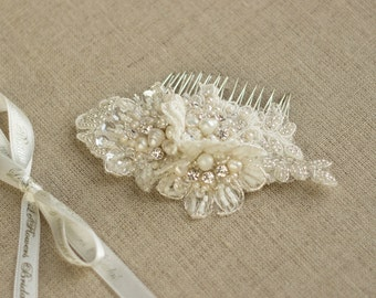 Wedding Hair comb Wedding lace headpiece Lace hair comb wedding hair accessories Pearl hair comb bridal hair accessories rhinestone crystal