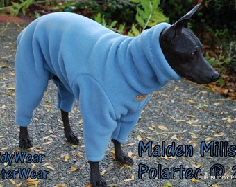 Malden Mills 200 weight Fleece Winter Body Suit for  Italian Greyhounds, American Hairless, and all small dogs.