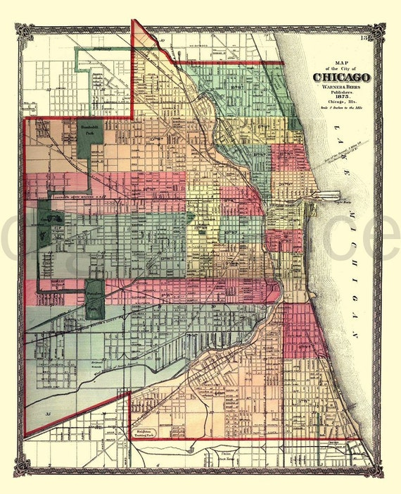 Vintage CHICAGO MAP Old Map 1875 Chicago