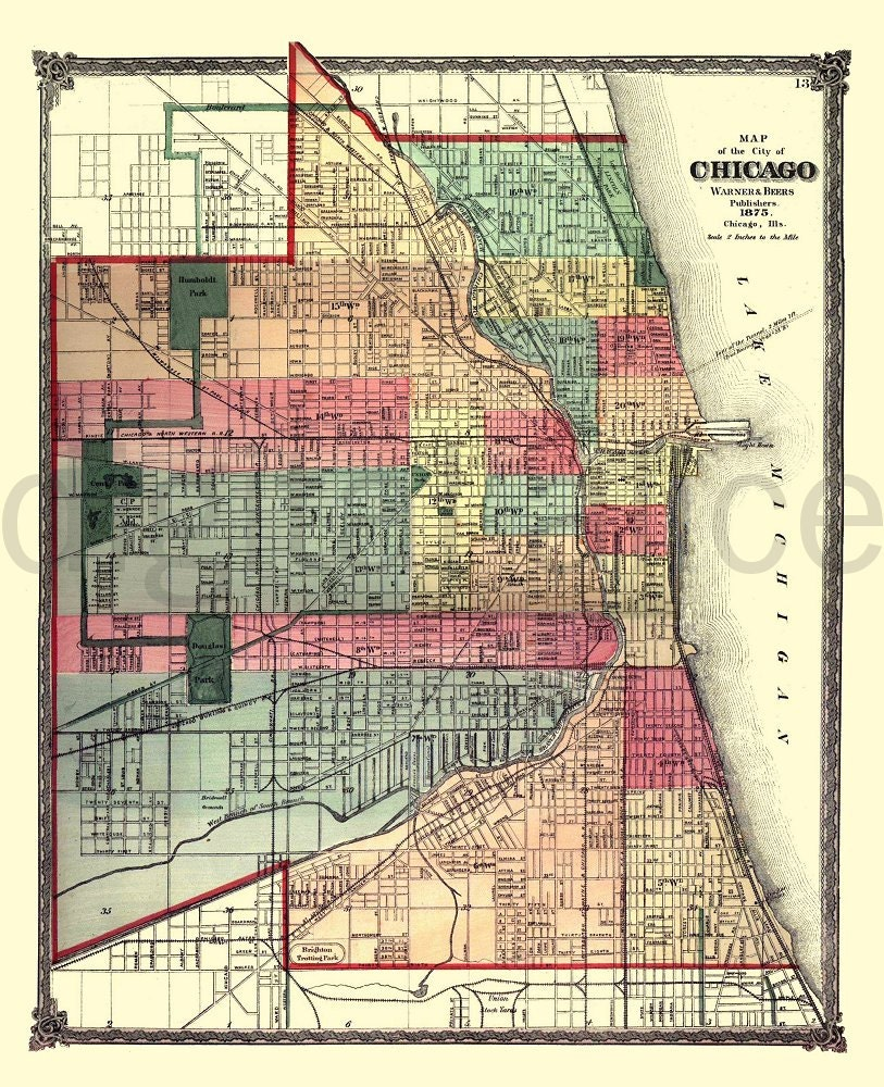 Vintage CHICAGO MAP Old Map 1875 Chicago Illinois Instant