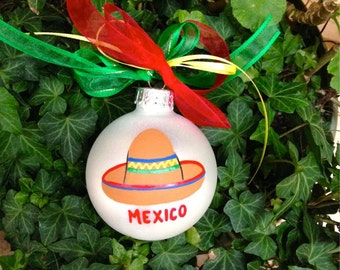 Sombrero Ornament - Personalized Christmas Bauble, Hand Painted Glass Ball, Mexican Vacation Souvenir, Mexico, Feliz Navidad