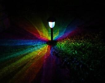 Rainbow KALEiDOSCOPE Painted Solar LED Path Light/Outdoor Mood Lighting/Solar Light/Fairy Garden/Rainbow Wedding/Solar Garden/Garden Gift