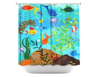 Fish Shower Curtain, Happy Fish, Colorful Tropical Fish Bathroom Decor