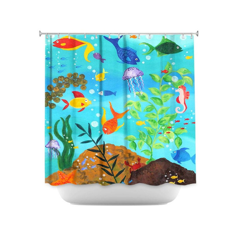 fish shower curtain happy fish colorful tropical fish