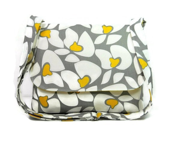 Women's Messenger Bag Purse, Crossbody Bag, Fabric Pocketbook, Shoulder Bag - Yellow Gray and White Floral - Premier Prints Helen in Storm