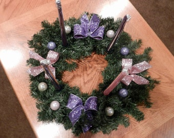 Christmas Advent Wreath Pink and purple glitter bows, purple, cream and  pink Christmas balls( candles included)