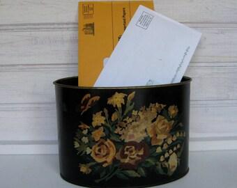 Vintage Tole Painted Letter Holder / Desk Accessory