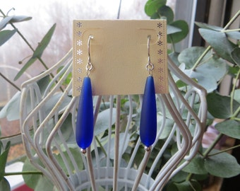 Cobalt Blue Sea Glass Tear Drop Earrings with handmade sterling silver wires