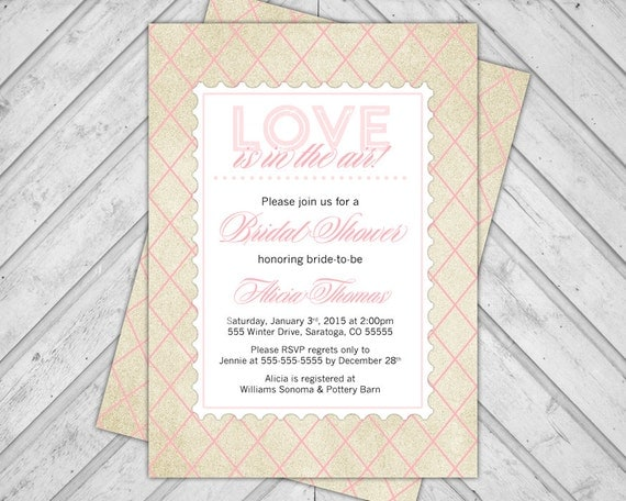 blush pink and gold bridal shower invitation glitter - printable ...