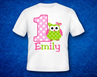 Personalized Owl TShirt or Bodysuit Owl 1st Birthday Shirt ANY Birthday NUMBER AVAILABLE Boy or Girl