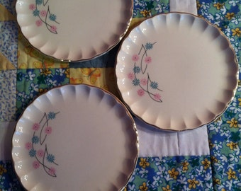 Vintage W S George 3 Piece Bread and Butter Plate Set Atomic Floral Bolero Made in The USA