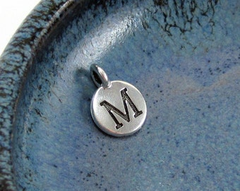"""NEW TierraCast Silver Letter """"M"""" Disk Charm *YOU Collection*"""