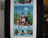 Christmas Dogs Theme Fabric Blanket - Cotton Front and Flannel Back - two available