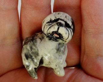 Old English Sheepdog - Terrarium Miniature - Ceramic Figurine - Dog Figurine - Puppy Miniature - Pottery Animal Figurine - Clay Dog