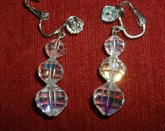 Vintage Crystal Drop Earring Faceted Handwired Chandelier Three Drop Crystal Beads 1940