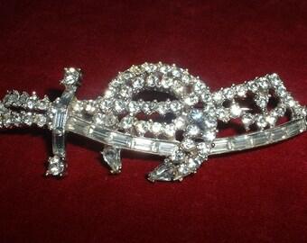 "Vintage Masonic Sword Brooch Pin Rhinestones Large 3 1/2""  Rodium Plated"