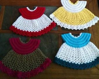 crochet baby dresses (0-3)mo