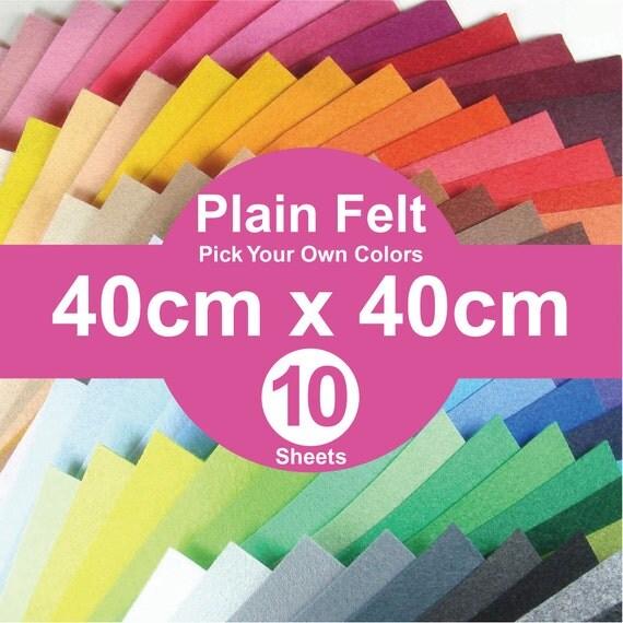 10 Plain Felt Sheets - 40cm x 40cm per sheet - pick your own colors (A40x40)