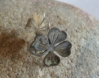 Four Leaf Clover Sterling Screw Back Earrings, Vintage Jewelry
