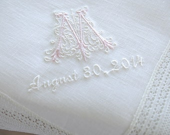 Wedding Handkerchief: White Irish Linen Lace Handkerchief Style No. 724L with Classic Zundt 1-Initial Monogram