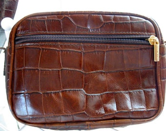 Vintage Genuine Leather Embossed Handbag Alligator Shoulder Bag