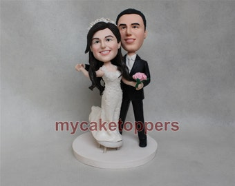 Funny wedding cake topper, bride and groom cake topper, dancing, dance, Christmas gift, unqiue cake topper, hand made, wedding gift