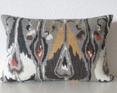 Ikat gray red brown robert allen ikat bands pillow cover decorative pillow cover
