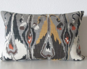 Ikat gray red brown robert allen ikat bands pillow cover decorative pillow cover