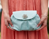 Elegant clutch with embroidered flap & rhinestone brooch personalized bridal wedding bridesmaid embroidered