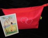 Red cosmetic makeup bag with embroidered double hearts - toiletries bag - wash bag - travel bag retro laminated lining Valentine