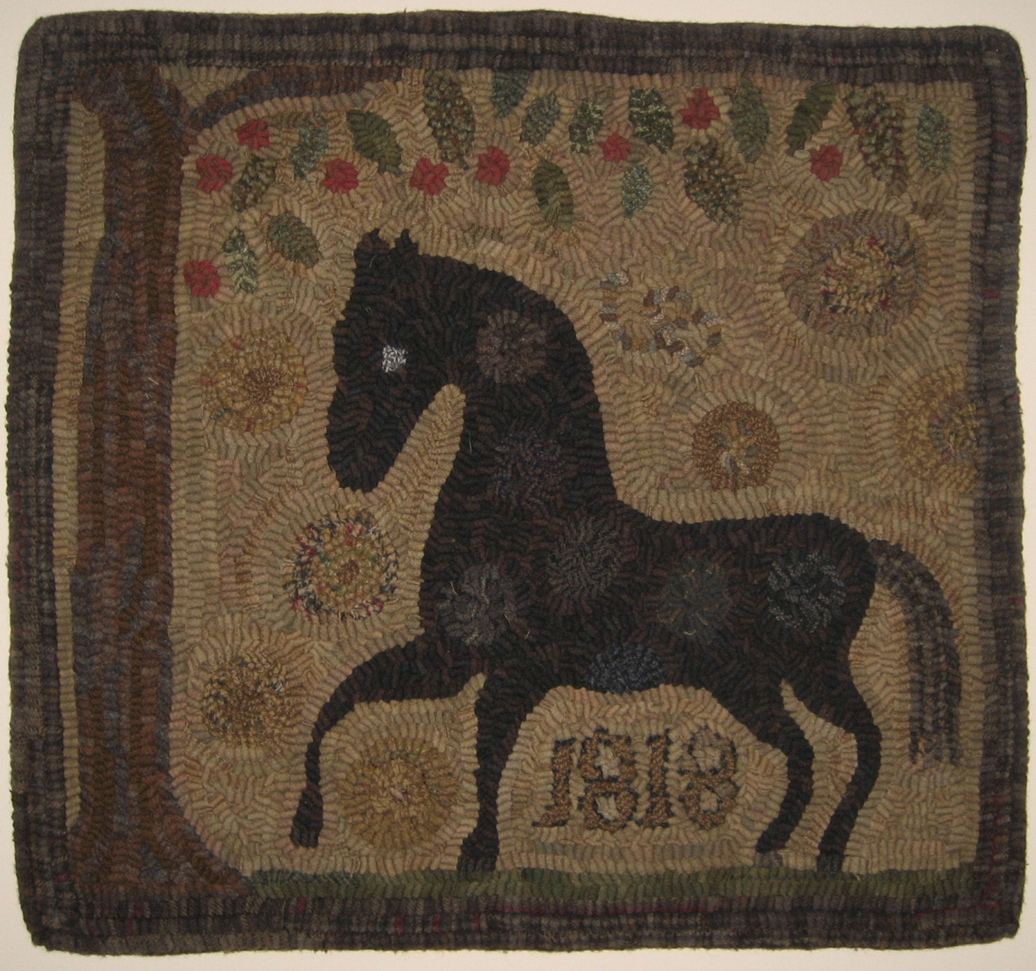 Dog Eating Wool Rug: Primitive Rug Hooking Pattern-Spot The Horse