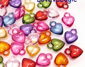 60 Acrylic Heart Charms. Mix Icy Colors
