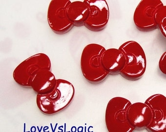 10 Ribbon Bow Lucite Cabochons.Red.