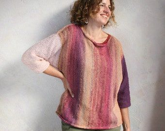 Peach Plum Cobbler oversized Vertical Stripe T: cotton kid mohair chunky knit, cropped bracelet sleeves