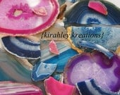 BROKEN AGATES -- 1 Pound of Royal Cobalt Sky Blue Teal Green Purple Pink Crystal Geode Stone Pieces Framing Crafts Projects Jewelry + More