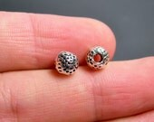 24 pcs textured dotted silver tone beads - 7mm  -  ASA193