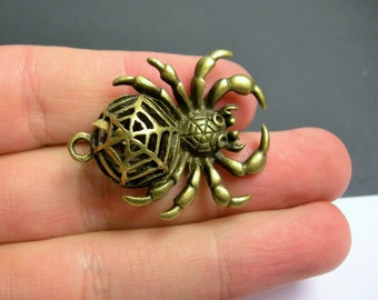 4 spider charm - bronze - brass - 4 pcs - 4 sided spider charm - BAZ123