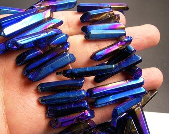 Quartz crystal points - mystic blue quartz points - top drilled - Full strand - 54 pcs - WQA2