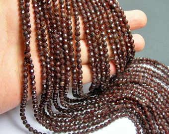 Red Garnet -  faceted 4mm (4.3mm) round  -91 beads-  full  strand - RFG160