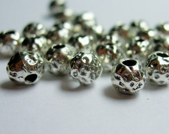 Textured hammered rounded bead  - 50 pcs - silver tone hammered dot beads - 6mm -  ASA180